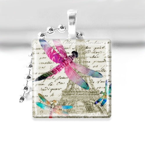 Dragonflies in Paris Glass Tile Pendant with Ball Chain Necklace