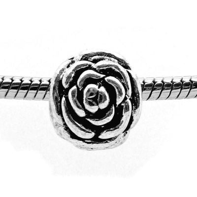 European Bead: Antique Silver Blooming Rose Bead -- Hole 5Mm Fits Most Bracelets - Beads
