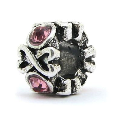 European Bead: Antique Silver Double Hearts With Pink Rhinestones Bead -- Hole 4.5Mm Fits Most Bracelets - Beads