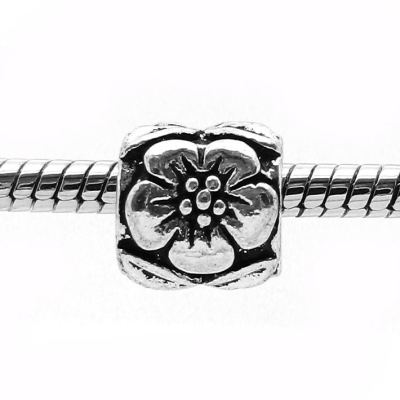 European Bead: Antique Silver Flower Bead -- Hole 4.5Mm Fits Most Bracelets - Beads