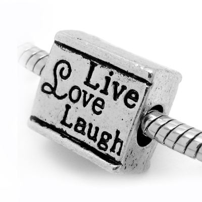 European Bead: Antique Silver Live Love Laugh Double-Sided Inspirational Bead -- Hole 4.5Mm Fits Most Bracelets - Beads
