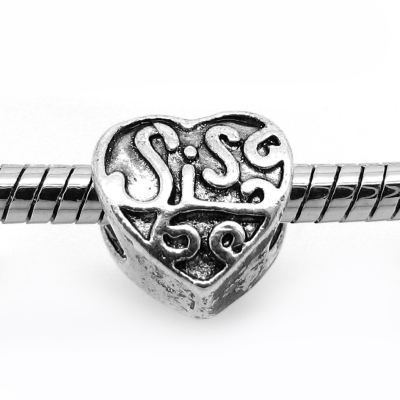European Bead: Antique Silver Sis Double-Sided Sister Bead -- Hole 5Mm Fits Most Bracelets - Beads