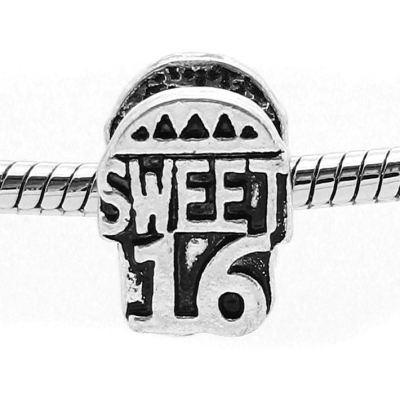 European Bead: Antique Silver Sweet 16 Birthday Bead -- Hole 4.5Mm Fits Most Bracelets - Beads