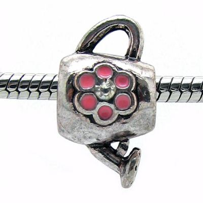 European Bead: Antique Silver Watering Can With Pink Flower Bead -- Hole 5Mm Fits Most Bracelets - Beads