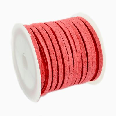 Faux Suede Cord: 5 Meters (16 Feet) Coral 3X1.5Mm Lace | Flat Leather Bracelet | Cording