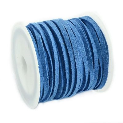 Faux Suede Cord: 5 Meters (16 Feet) Cornflower Blue 3X1.5Mm Lace | Flat Leather Bracelet | Cording