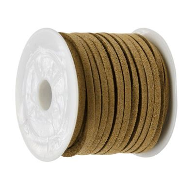 Faux Suede Cord: 5 Meters (16 Feet) Dark Khaki 3X1.5Mm Lace | Flat Leather Bracelet | Cording