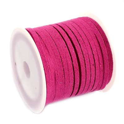 Faux Suede Cord: 5 Meters (16 Feet) Magenta 3X1.5Mm Lace | Flat Leather Bracelet | Cording