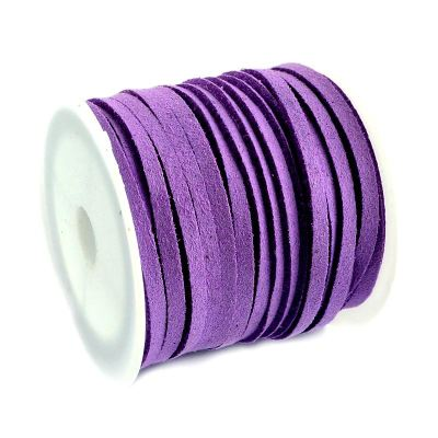 Faux Suede Cord: 5 Meters (16 Feet) Purple 3X1.5Mm Lace | Flat Leather Bracelet | Cording