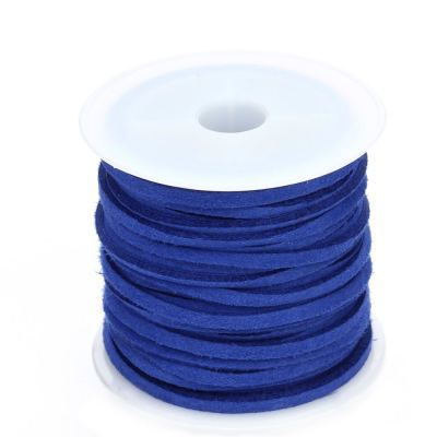 Faux Suede Cord: 5 Meters (16 Feet) Royal Blue 3X1.5Mm Lace | Flat Leather Bracelet | Cording
