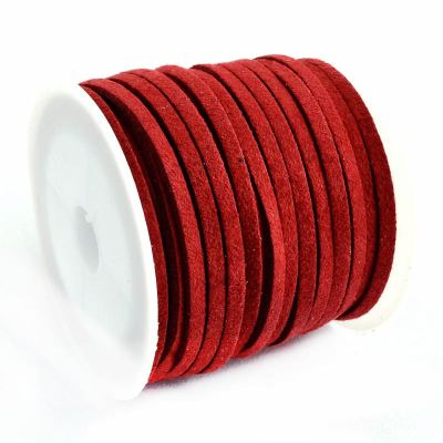 Faux Suede Cord: 5 Meters (16 Feet) Scarlet Red 3X1.5Mm Lace | Flat Leather Bracelet | Cording
