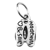 Antique Silver Flip Flops Beach Sandals Charm with Jump Ring