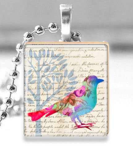 Scrabble Tile Pendant with Silver Ball Chain Necklace (Altered Art Bird with Tree)
