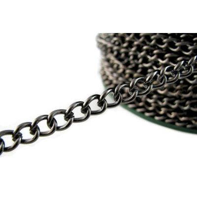 Gunmetal Twist Oval Chain / Black Curb 5.5 X 7.5 1.2Mm