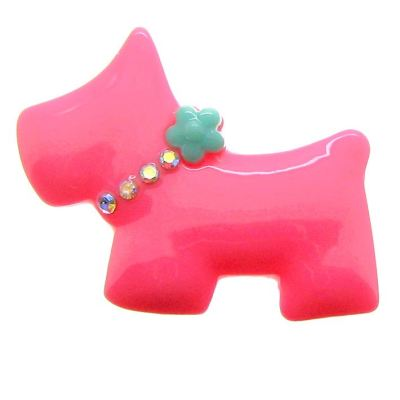 Hot Pink & Aqua Bling Scottie Dog Resin Cabochon - Bloomin Baubles