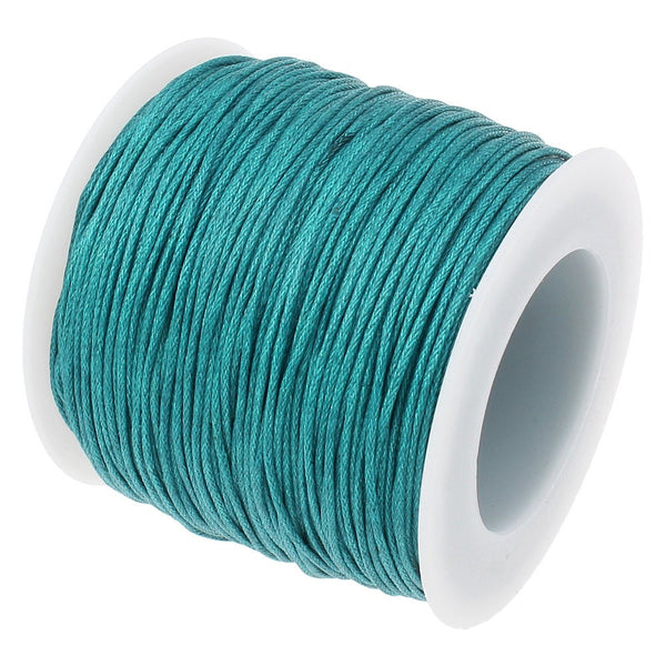 Waxed Cord : 10 yards (30 feet) Teal 1mm Waxed Cord String / Bracelet Cord / Macrame Cord / Chinese Knotting Shamballa    257-30