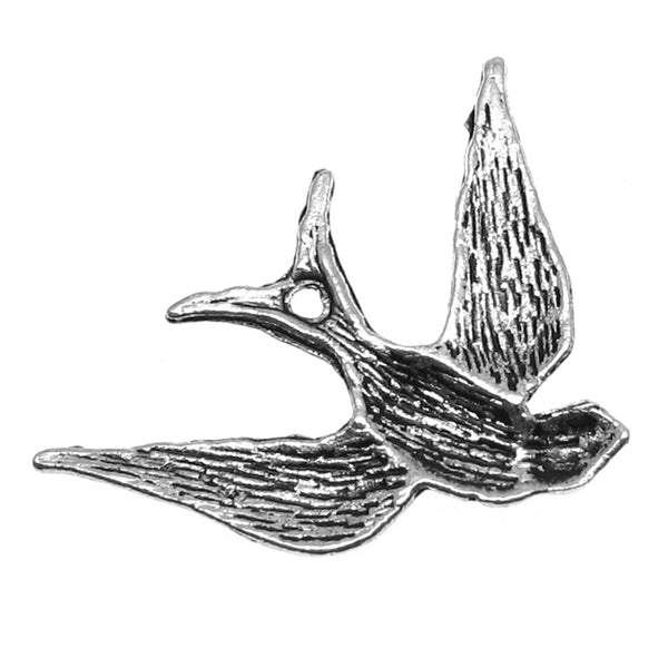 Antique Silver Bird Charms / Bird in Flight Pendants [10 pieces] -- Lead, Nickel & Cadmium Free Jewelry Findings D2