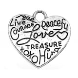 Antique Silver Heart Charm / Inspirational Stamped Heart Silver Charms [10 pieces] -- 65750.L5