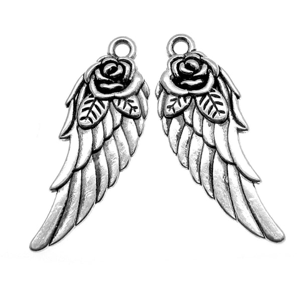 Add-A-Charm Antique Silver Angel Wing Charm with Jump Ring --  [1 piece] -- Add a charm to any necklace or bracelet 16767.J5D