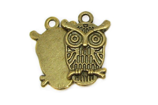 Antique Brass Owl Charms / Bronze Owl Pendants / Bird Charms [10 pieces] -- Lead, Nickel & Cadmium free Jewelry Findings A7
