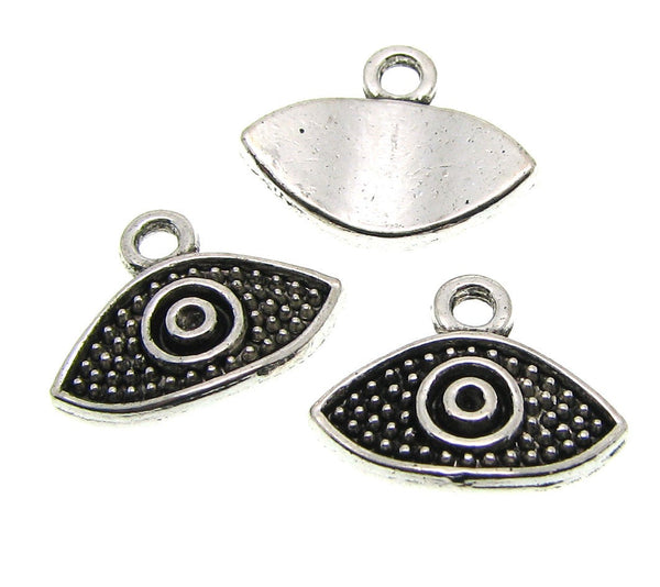 Antique Silver Evil Eye Charms | Silver Evil Eye Pendants [10 pieces] -- Lead, Nickel & Cadmium Free 00319.J4M