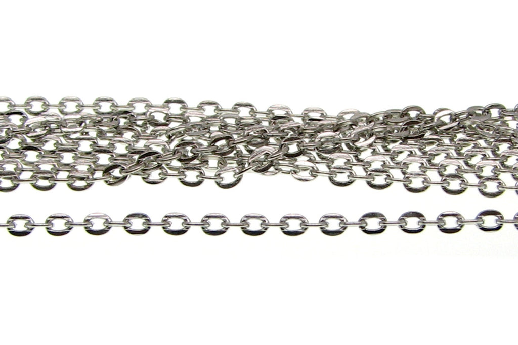 Chain : 16 feet (5 meters) Antique Silver Cable Chain 2.5x2x.5mm Oval Flat Link Chain Findings -- Lead, Nickel & Cadmium Free 82226