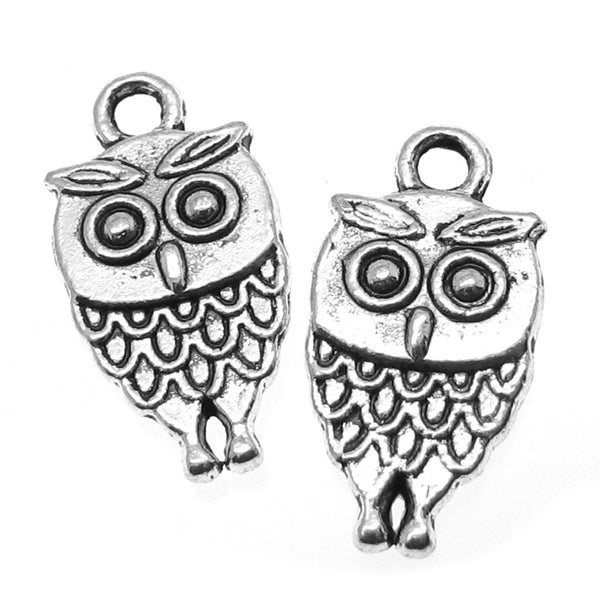 Silver Charms : 10 Double-Sided Antique Silver Owl Charms / Silver Owl Pendants  -- Lead, Nickel & Cadmium Free  100807.A10