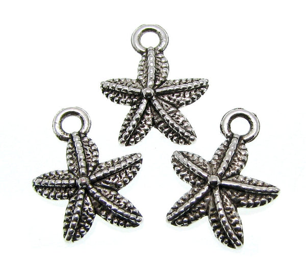 Antique Silver Starfish Beach Charms [10 pieces] -- Lead, Nickel & Cadmium Free 65612.J6C