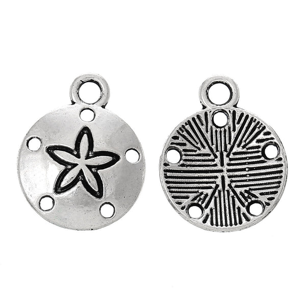 Antique Silver Sand Dollar Charms / Silver Sand Dollar Beach Pendants [10 pieces] -- Lead, Nickel & Cadmium Free 40499.K4C