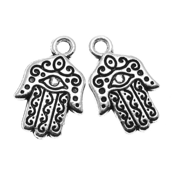 Add-A-Charm Antique Silver Hamsa Charm/ Ornate Hand of Fatima Charm with Jump Ring [1 piece] -- 104429.B20