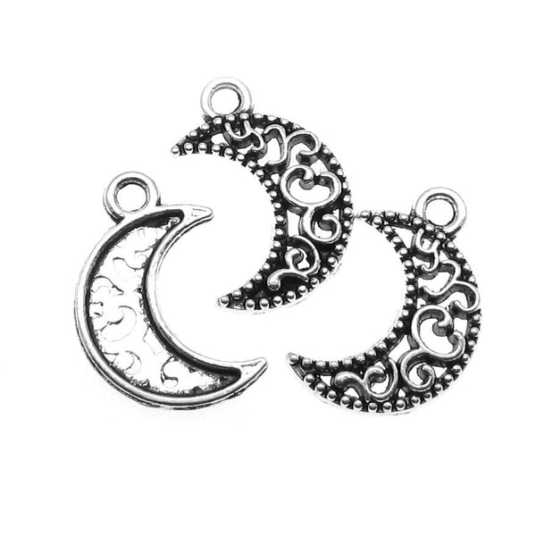Antique Silver Filigree Moon Charms | Silver Crescent Moon Pendants [10 pieces]-- Lead, Nickel & Cadmium Free 13234.J4N