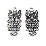 Antique Silver Owl Charms / Silver Owl Pendant [10 pieces] -- Lead, Nickel & Cadmium Free 13737.J5G