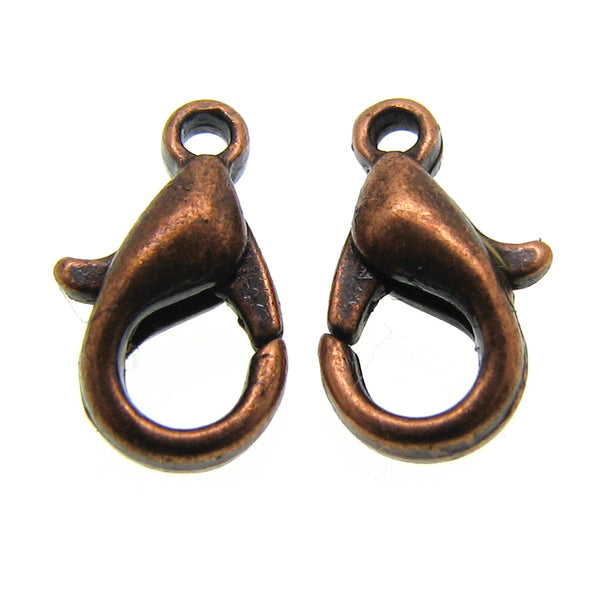Jewelry Findings : 25 pieces Antique Copper Lobster Clasps 10mm x 6mm -- Nickel free  103-4.25 E1