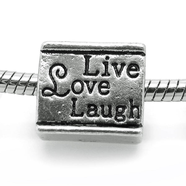 European Bead: Antique Silver 'Live Love Laugh' Double-Sided Inspirational Bead -- Hole 4.5mm -- Fits most European Bracelets [E-81106]