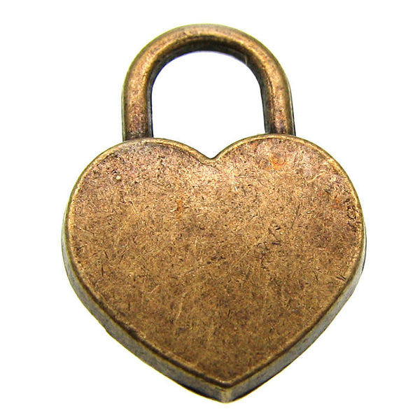 Antique Bronze Heart Lock Charms with Rhinestone / Brass Ox Lock Pendants [10 pieces] -- Lead, Nickel & Cadmium Free BCH105416.J4C