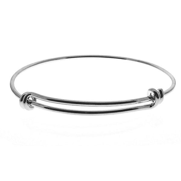 Expandable Silver Wire Bangle Bracelet / Stacking Charm Bracelet -- BR-176