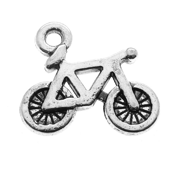 Antique Silver Bicycle Charms / Double-Sided Bike Pendants  [10 pieces]  -- Lead & Nickel Free 9048.J2I