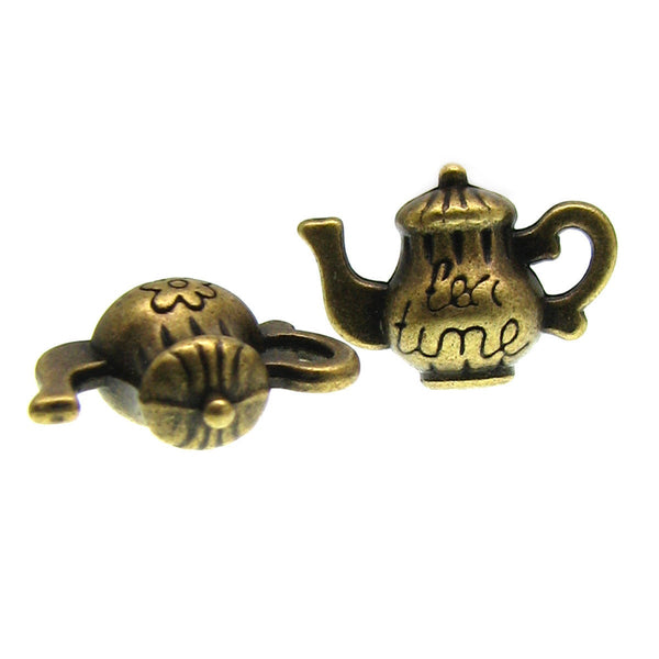 Antique Bronze Tea Time Teapot Charms / Brass Tea Pot Charms  [ 10 pieces ] -- Nickel, Lead & Cadmium free D3