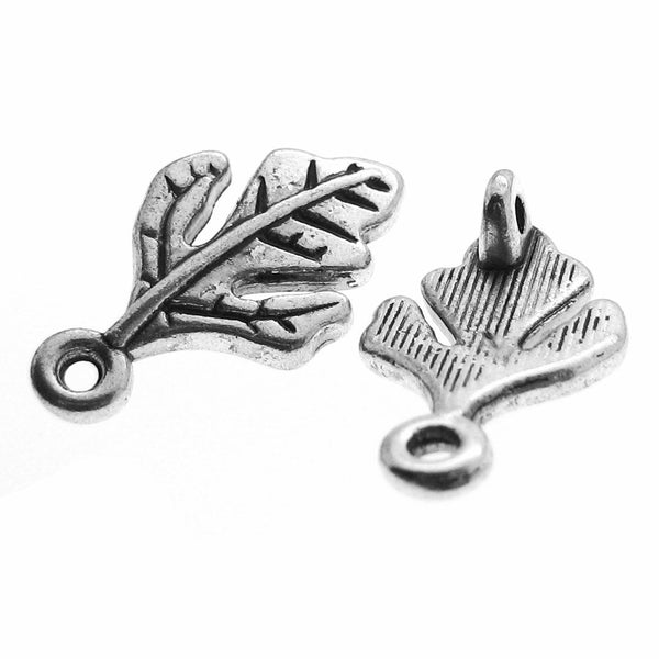 Antique Silver Oak Leaf Jewelry Links / Silver Leaf Necklace or Bracelet Connectors [10 pieces] -- Lead & Cadmium Free J1E
