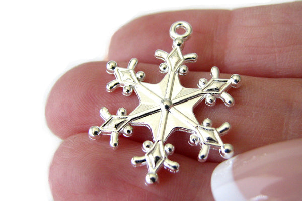 Silver Charms : 10 pieces Shiny Silver Snowflake Charms / Frozen Snow Winter Charms 29x22mm ... Lead, Nickel & Cadmium free 12740 2-J5C