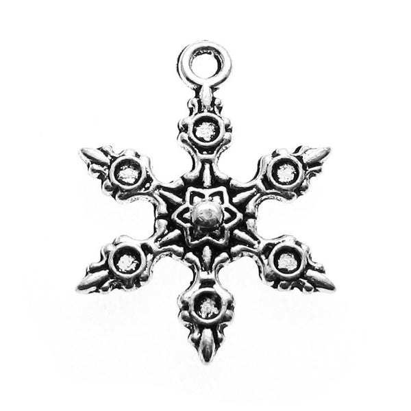 Antique Silver Snowflake Charms | Frozen Snow Winter Charms 23x17mm [10 pieces] -- Lead & Cadmium free 12780.J4I