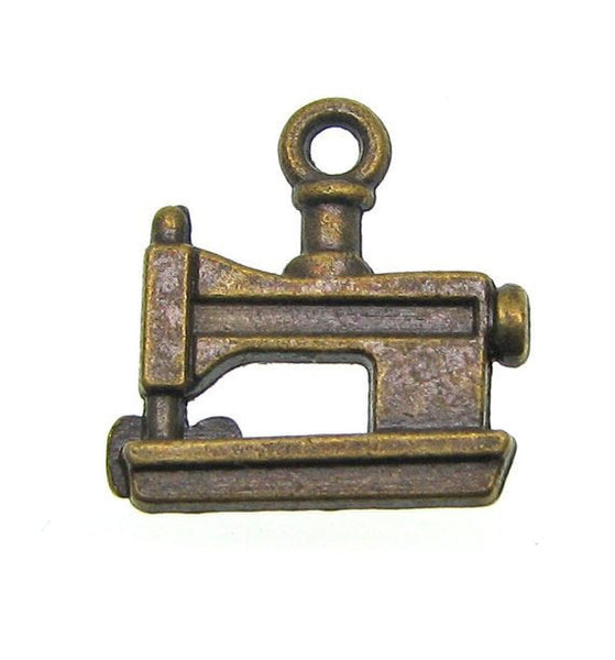 Antique Brass Sewing Machine Charms / Bronze Quilting Seamstress Crafting Charms [10 pieces] -- Lead, Nickel & Cadmium Free J3B