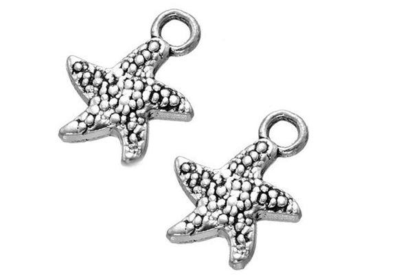 Antique Silver Starfish Charms | Beach Starfish Pendants 12x16mm [10 pieces] -- Lead, Nickel & Cadmium Free -- SHIPS FROM THE U.S. 15757.C26
