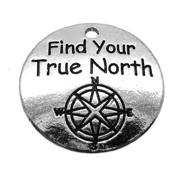 "Add-A-Charm Antique Silver Stamped ""Find Your True North"" Compass Inspirational Charm with Jump Ring [1 piece]  -- SCH94508.R"