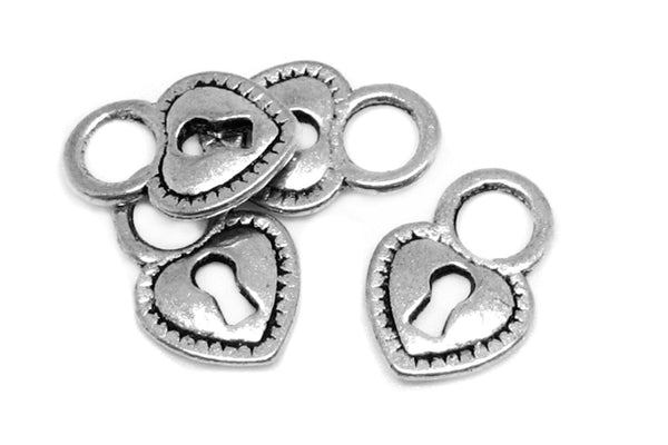 Antique Silver Heart Skeleton Key Lock Charms  [10 pieces] -- Lead, Nickel & Cadmium Free  H6K