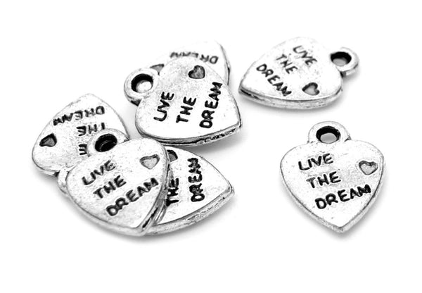 "Antique Silver Heart ""Live The Dream"" Charms / Inspirational Heart Pendants 12x9.5mm [25 pieces] -- Lead Free 2678.J5E"