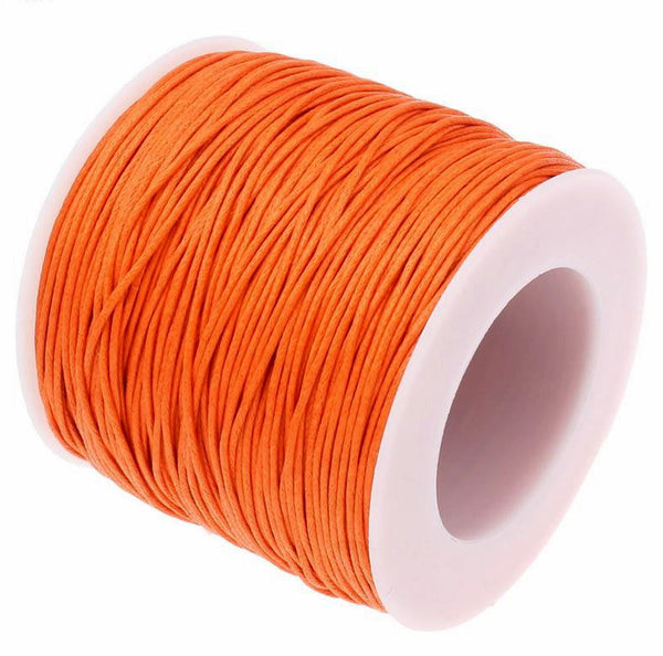 Waxed Cotton Cord : Orange 1mm Waxed Cord String / Bracelet Cord / Macrame Cord  [30 feet -- 10 yards] 93233-6