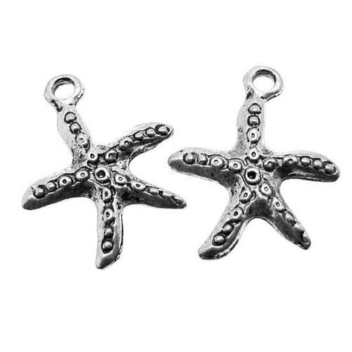 Antique Silver Starfish Charms / Silver Beach Charms -- Perfect for Bracelets [10 pieces] -- 00838.H5B