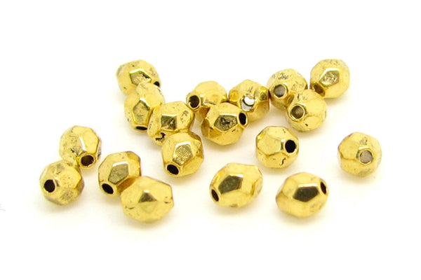Golden Faceted Oval Spacer Beads  Bead Spacers 4x3.5mm [25 pieces] -- Lead, Nickel & Cadmium Free 032-6.M