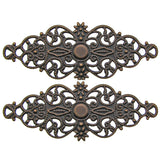 Filigree : 10 Antique Copper Filigree Flower Wraps Connectors / Filigree Metal Stampings 6.1x 2.4cm -- Lead, Nickel & Cadmium Free F136022